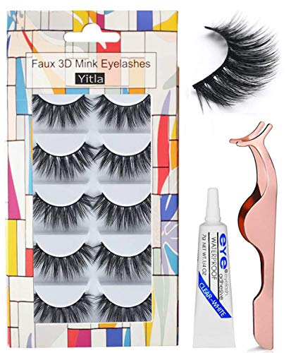 Professional 5 Pack Faux 3D Mink Eyelashes Thick Long Multilayer Fluffy False Eyelashes With Free Precision Eyelashes Clip glue (5 pairs)