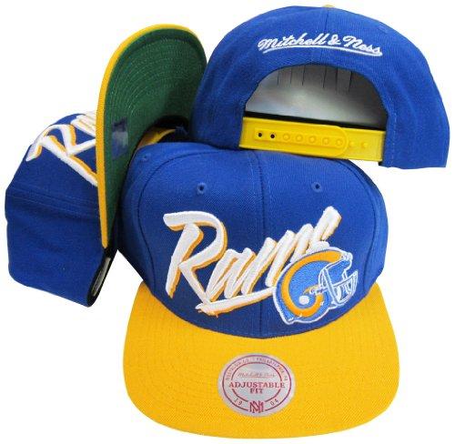 - Los Angeles Rams Diagonal Script Blue/Yellow Two Tone Plastic Snapback Adjustable Hat / Cap