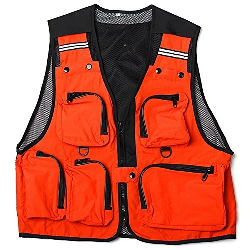 Fyueメッシュベストメンズアウトドアレジャージャケットマルチポケット釣りハンティング(オレンジXXL )   B076SMSF3F