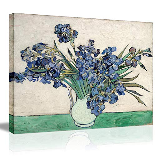 Vintage HD Print Canvas Prints-Irises by Van Gogh Famous Oil Painting Reproduction Floral Wall Art Wall Painting Classic Abstract Wall Pictures Blue Flower Plant Illuminative Wallpaper Mural-32×24