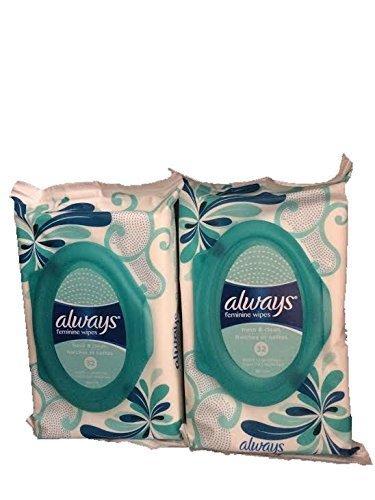 Always Feminine Wipes-Soft Pack, Fresh & Clean-2 Packages-Total 64 Wipes