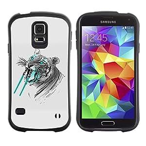 LASTONE PHONE CASE / Suave Silicona Caso Carcasa de Caucho Funda para Samsung Galaxy S5 SM-G900 / Saber tooth Tiger Funny