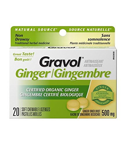 Certified Organic Ginger GRAVOL (20 Chewable Lozenges)500mg Antinauseant for NAUSEA, VOMITING & MOTION SICKNESS