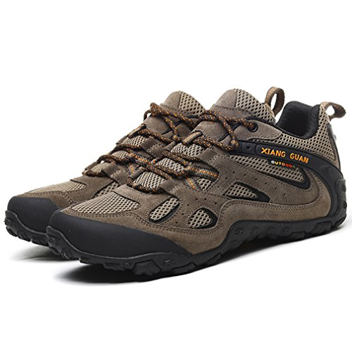 Chaussures Sneakers Lace Beige Randonnée GUAN Athletic Hommes Off Camping Road up Mesh Low Casual Top Respirant Chaussures Suede Sports Outdoor XIANG Trekking 1cpOR1