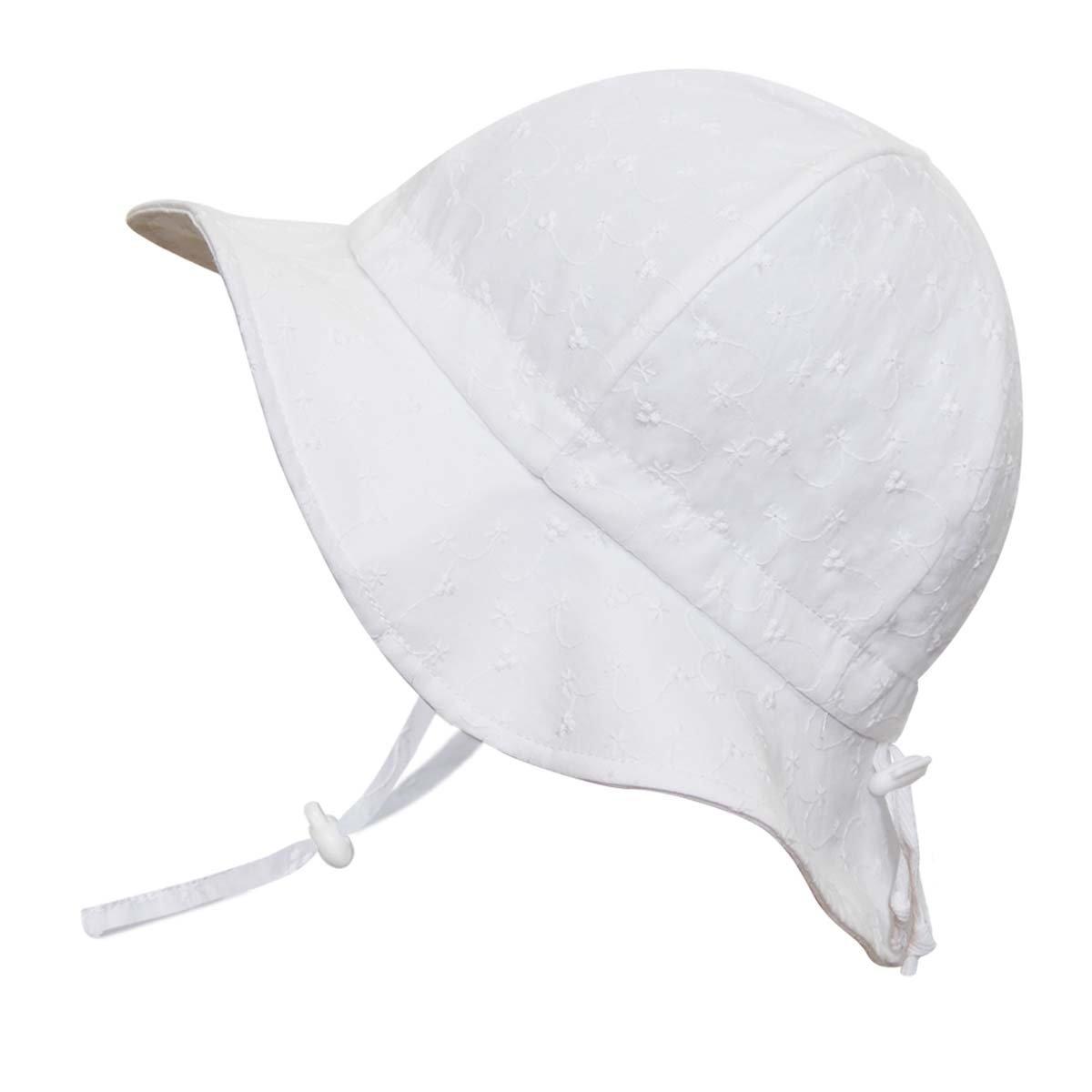 JAN & JUL Toddler Girls White Cotton Sun Hats 50 UPF, Drawstring Adjustable, Stay-on Tie (M: 6-24m, Floppy Hat: Tiny Eyelet - Toggled Chinstrap)