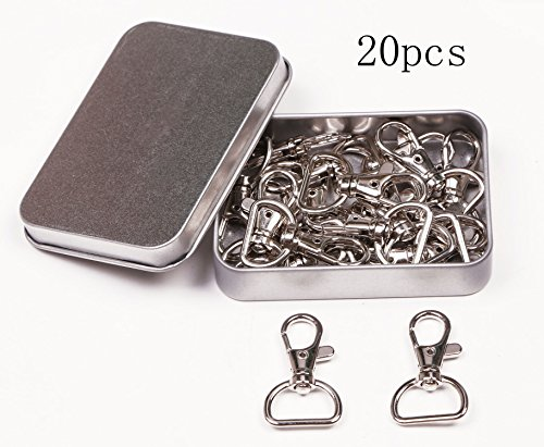 Nickel Plated Metal Lobster Claw Clasps Swivel Clip Snap Hook Key Ring for Lanyard, 1 5/8 x 1 Inch, 20PCS