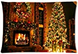 Peaceful Christmas Eve Fireplace Throw Pillow Case Cushion Covers Square 20x30 Inch (one side)