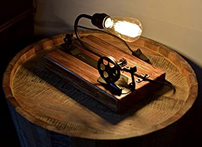 Industrial Wood Table Lamp - Real Wood and Machinery Part Creative Lamp - Edison/Incandescent ST64 Bulb - Home Decor Furniture - Free Bulbs Included