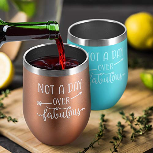 Birthday Gifts for Women – Insulated Wine Tumbler and Funny Socks Gift Set – Not a Day Over Fabulous Gifts for Women…