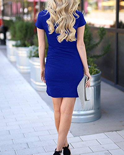 Mini Dress Short Ruched Dresses Casual Blue Summer Pencil Sleeve Bodycon Beautife Work Womens xwqZnZR