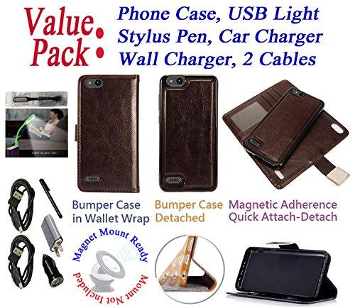 Value Pack + for ZTE Avid 4 Tempo X Fanfare 3 Blade Vantage Case Wallet Phone Case Mag Mount Ready Detach Bumper Stand Purse Screen Flip Cover (Brown Dark)
