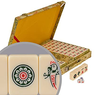 Chinese Mahjong Game Set with Ivory Colored Tile Set and Embroidered Silk Case