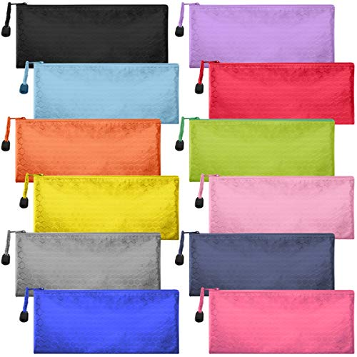 12 Pieces Zipper Waterproof File Bag Pencil Pouch Pen Bag for Cosmetic Makeup Office Supplies and Travel Accessories 12 Colors (12 -