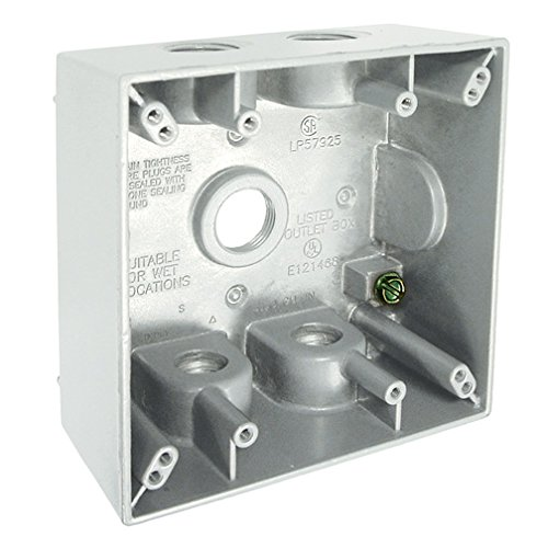 Hubbell-Bell 5337-1 2-Inch Deep 2-Gang 5 Outlet 31 Cubic Inch Weatherproof Box, White