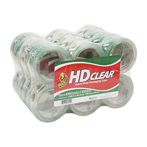 Duck Brand HD Clear Heavy Duty Packaging Tape 188 Inches x 546 Yards Clear 24 Pack 393730