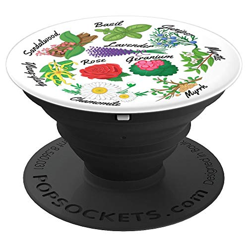- Essential Oil Herbs, Rose Lavender Myrrh Ylang Myrtle plant - PopSockets Grip and Stand for Phones and Tablets