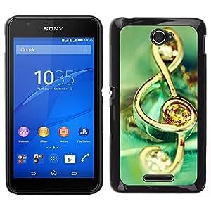 EJOY---Cubierta de la caja de protección para la piel dura ** Sony Xperia E4 ** --Símbolo de música de la joyería