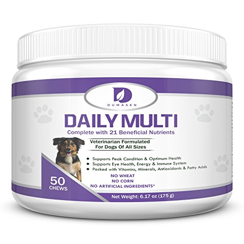 - Daily Chewable Multivitamins for Dogs & Puppies | Chewy 21 in 1 Multi-Vitamin Supplement for Large and Small Dogs | Promotes Heart, Liver, Brain and Eye | Supports Healthy Skin, Hip, Coat & Digestive