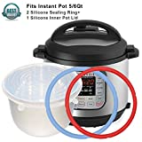 2pcs Instant Pot Silicone Sealing Ring & 1 Inner Pot Lid Combo , Seal Lasting & BPA-free Made By Pure Silicone , Fits IP-DUO50/60 , IP-LUX50/60 , IP-CSG50/60 & Smart-60 , 5/6Qt By Treasuree