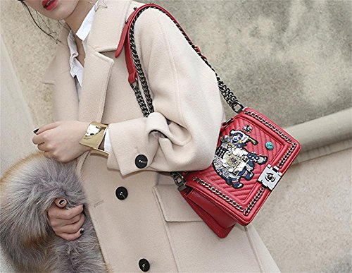 Women Party Portable Bao Chain Bag Embroidery Lingge Red Shoulder Small Bags Elephant Messenger PTqzwTR5x