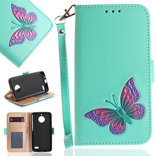 Moto E4 Case, UNEXTATI Butterfly Embossing Design PU Leather Flip Wallet Cover Case with Card Holder for Moto E4 (Green #3)