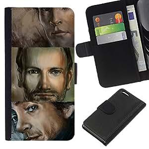 KLONGSHOP // Tirón de la caja Cartera de cuero con ranuras para tarjetas - Hombre Retrato Ojos azules Dibujo Hermoso - Apple Iphone 5C //