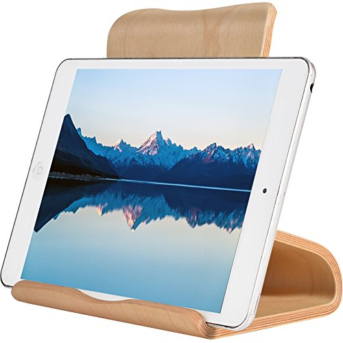SAMDI Tablet Stand, Wood iPad Stand: Desktop Stand Holder Dock for New iPad 2017 Pro 9.7, 10.5, Air Mini 2 3 4, Kindle, Nexus, Accessories, Tab, E-Reader, Other Tablets (4-13 inch)-(White Birch)