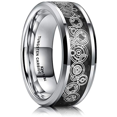 King Will Mens 8mm Tungsten Carbide Wedding Ring Black Carbon Fiber Inlay Unique Pattern Comfort Fit 7.5