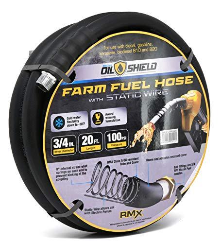 Oil Shield Next-Gen Farm Fuel Transfer Hose - Lighter - 2X Kink Resistant - Antistatic - 4 Finger Grip Bend Restrictors (3/4