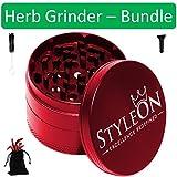 StyleOn Herb Grinder Bundle (4 Items) | Grinders for Weed. Comes with Grinder