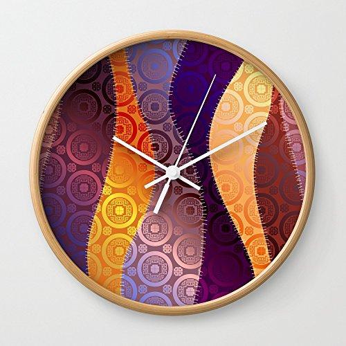 Society6 Boho Wave Pattern Wall Clock Natural Frame, White Hands