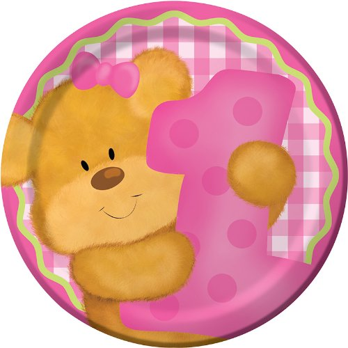 Creative Converting Bears First Birthday Round Dessert Plates, Pink, 8 Count