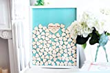 ACOVE Personalized Wedding Guest Book Drop Top Box, Heart Wooden Guest Book 40x50 CM With 150 Pcs Wooden Hearts