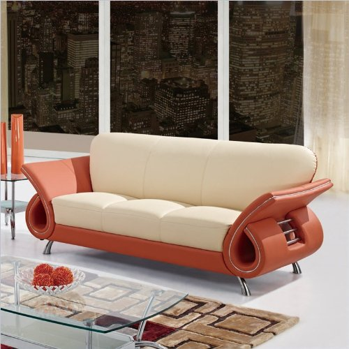 Global Furniture Leather Matching Sofa with Cappuccino/Mahogany Arms
