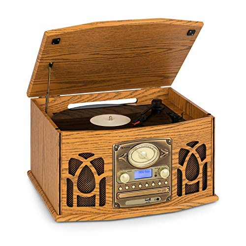 Auna NR-620 Tocadiscos - Reproductor de vinilos y CD - Accionamiento por Correa, Compatible MP3, Radio FM/Am, Altavoces estéreo 2x2W, Entrada USB/SD, ...