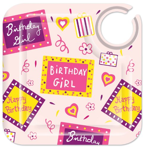 , Birthday Girl 8-1/2-Inch Square Appetizer Plates, Set of 4 ()