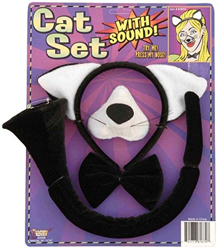 Forum Novelties Animal Costume Set Black Cat Ears Nose Tail with Sound Effects (Halloween Accessories)