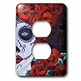 3dRose Melissa A. Torres Art Dia de Los Muertos - Image of partial Dia de los Muertos woman with roses - Light Switch Covers - 2 plug outlet cover (lsp_261562_6)