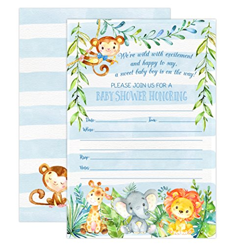Monkey Baby Shower Invitation - Boy Jungle Safari Baby Shower Invitations, Safari Animal Invitation, 20 Fill in Invitations and Envelopes, Blue Boy Baby Shower Party, Monkey, Lion, Elephant, Giraffe