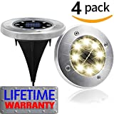 4PCS Solar Powered Ground Lights,IP65 Waterproof Outdoor 2.8 Inch Disk Solar Light with Super Bright 8 LED for Garden Pathway Yard, Driveway, Lawn (Warm)