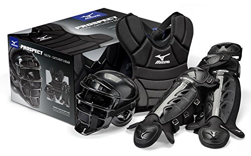 Mizuno Prospect MPP1300 Youth Boxed Catchers Gear Set, Black (Mizuno Catcher Set)