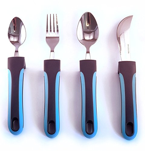 adaptive utensils weighted knives forks and spoons silverware set for elderly 756756891118 ebay. Black Bedroom Furniture Sets. Home Design Ideas