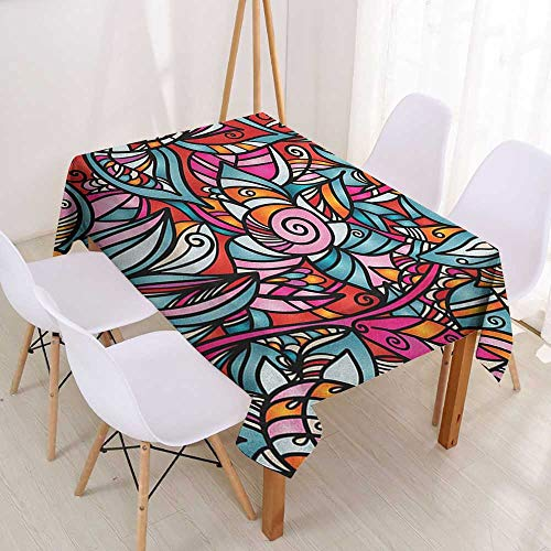 Wendell Joshua Decorative Table Cloth Abstract,Colorful Florals Sunflower Mosaic Curl Ornaments Stained Glass Inspired Design,Multicolor,Dinner Picnic Table Cloth Home Decoration 39