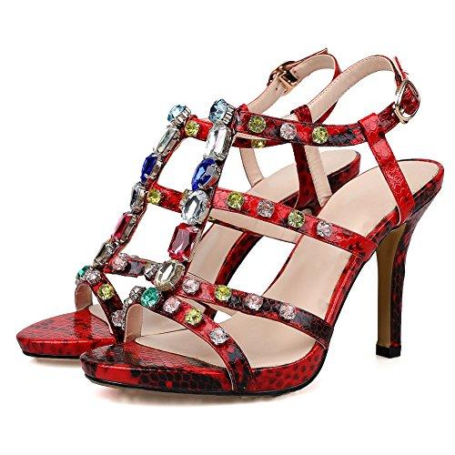 1TO9 - Sandalias de vestir para mujer Red