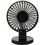 ZZ Lighting Creative Speed Adjustable Desktop Mini Fan Electric Fan USB Powered Fan Mute Fan Double Blades Small Fan with 2-Mode (Black)