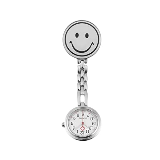 Sonrisa Cara Enfermera Fob Broche Reloj colgante lindo Clip portátil Uso médico Corchete de cuarzo Reloj de escala de tiempo preciso - Blanco: Amazon.es: ...