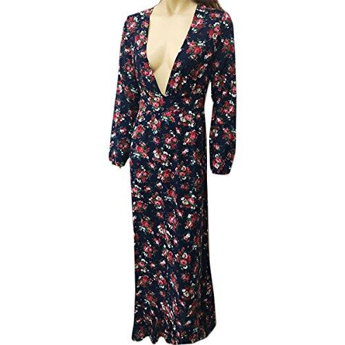 Plage Longue Bleu de V Femme Longue Manche Robe de Profond d't Marine Boho Rtro Robe Imprim Floral Robe Maxi Hippie Col Cocktail UqOFERawxa