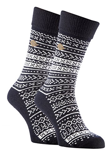 Farah - 2 Pack Mens Thick Winter Fair Isle Patterned Wool Mix Dress Boot Socks (7-12 US, 05 Navy/White)