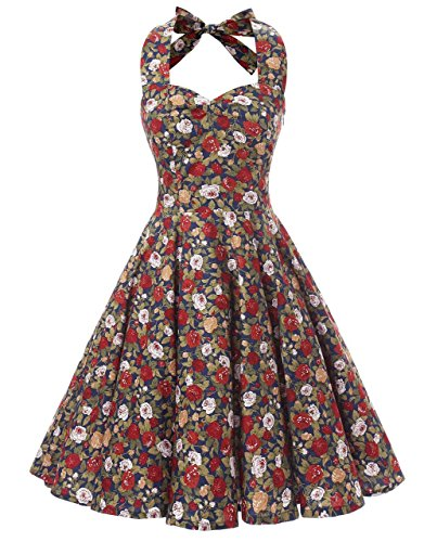 Ensnovo Womens Vintage 1950s Halter Floral Spring Garden Party Picnic Dress Royal Blue, (Garden Party Dress)