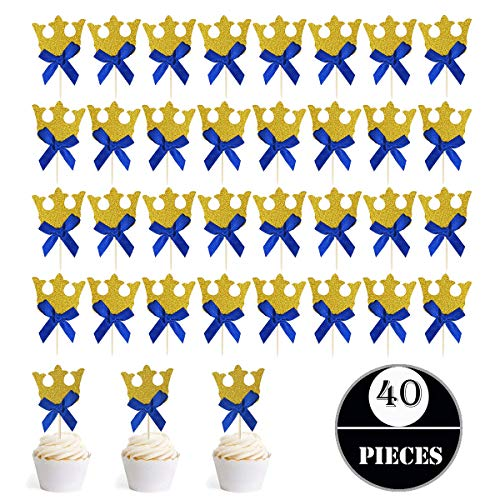 Gold Glitter Crown Cupcake Toppers and Blue Bow,